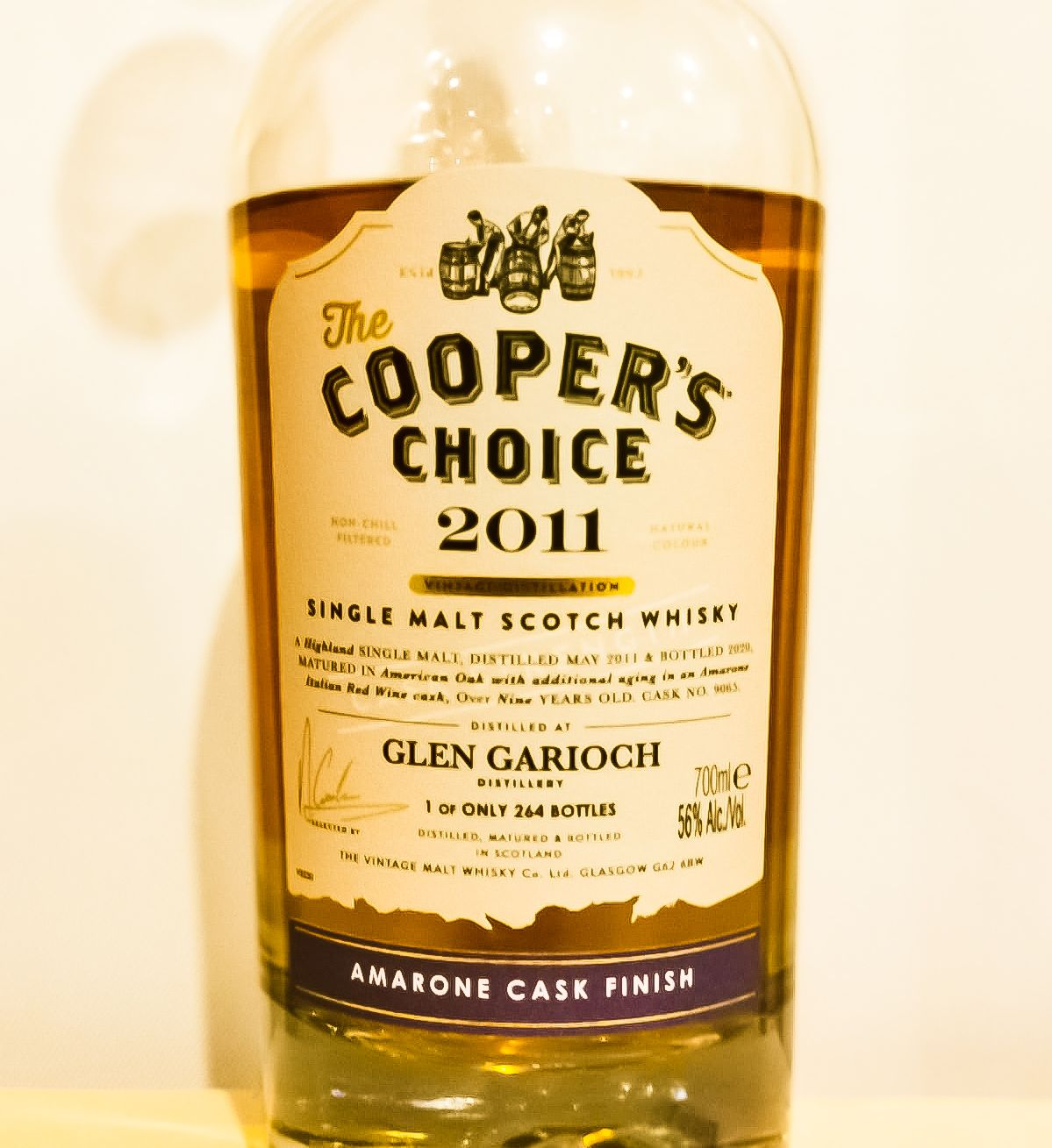 Glen Garioch 9 Jahre [56.0 %, 2011/2020, Cooper's Choice, Cask Nr. 9065, Amarone Finish, 264 Flaschen]